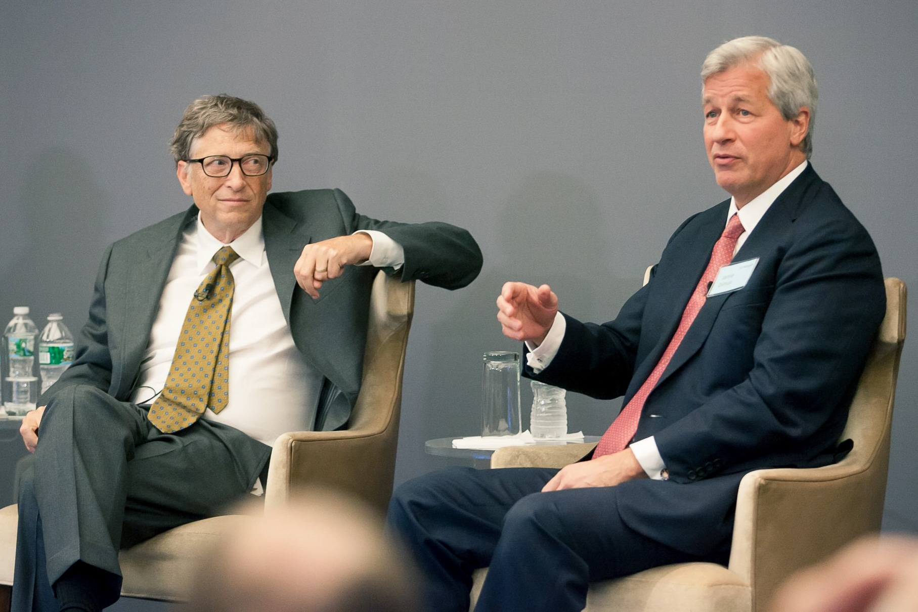 Bill Gates and Jamie Dimon at an eventcelebrating the launch of GHIF in 2013